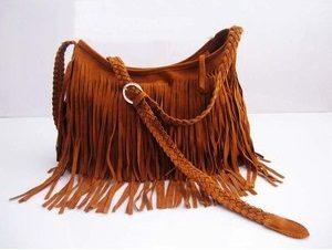 Brown Suede Fringe Bag