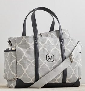 Gray and White Diaper Bag