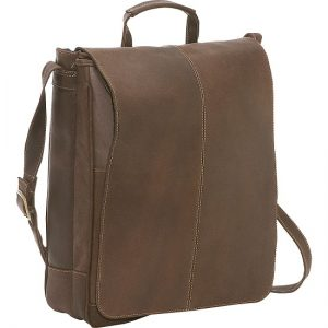 Leather Vertical Laptop Bag