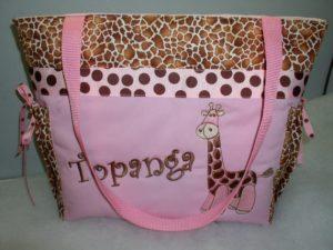 Pink Giraffe Diaper Bag
