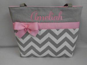 Pink and Gray Diaper Bag