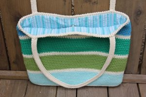 Striped Crochet Tote Bag