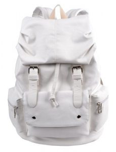 White Leather School Bag