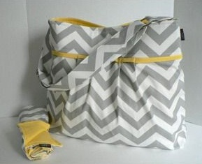 Yellow and Gray Diaper Bag