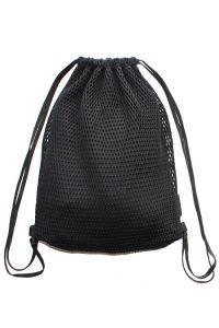 Black Mesh Drawstring Bag