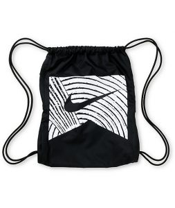Black and White Drawstring Bag
