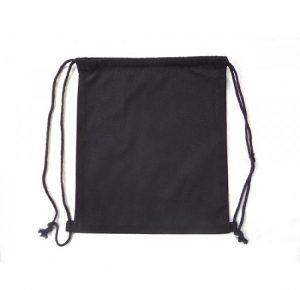 Plain Black Drawstring Bag