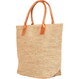 Straw Tote Bag Leather Handles