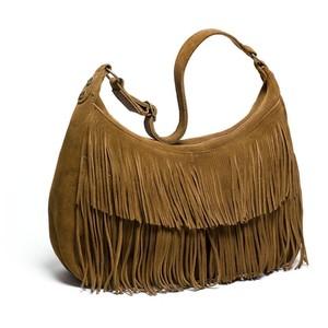 Suede Fringe Shoulder Bag