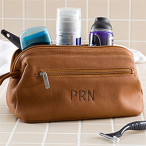 28daf57beb40 Personalized Leather Toiletry Bag