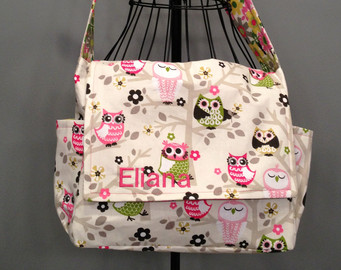 White Owl Diaper Bags