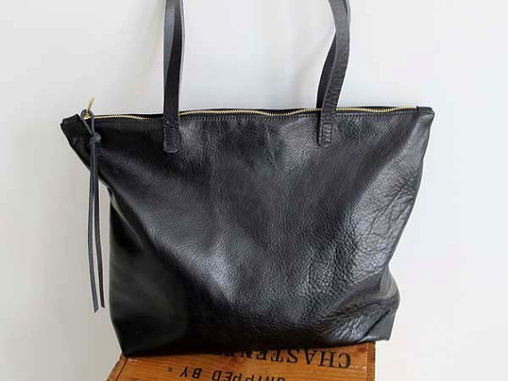 ebe342011d Leather Tote Bag Zipper